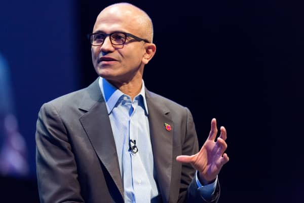 Microsoft CEO Satya Nadella at a company conference in London in November 2014.