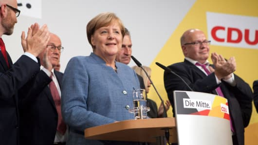 German Chancellor and Head of the Christian Democratic Union party (CDU) Angela Merkel on election night at the CDU headquarters in Berlin, Germany on September 24, 2017.