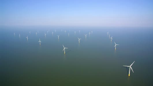 This image shows wind turbines near Whitstable and Herne Bay on the Kentish coast. The U.K. has become a world leader in offshore wind.