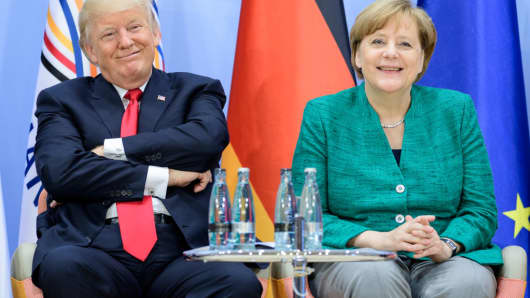 U.S. President Donald Trump and German Chancellor Angela Merkel