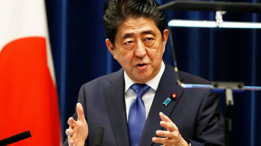 Japan's Prime Minister Shinzo Abe attends a news conference to announce snap election at his official residence in Tokyo, Japan, September 25, 2017.