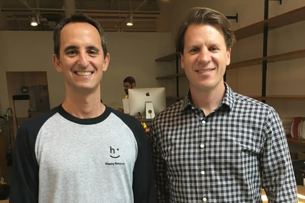 The founders of Happy Returns: COO Mark Geller (left) and CEO David Sobie