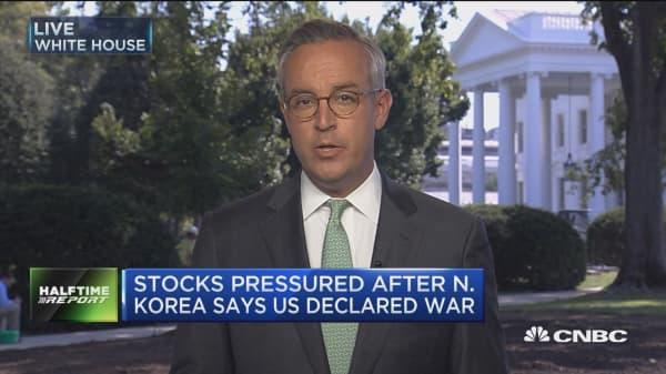 Stocks pressured after North Korea says US declared war