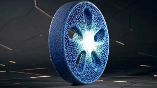 Michelin 3D-printed airless tire made from recycled materials.
