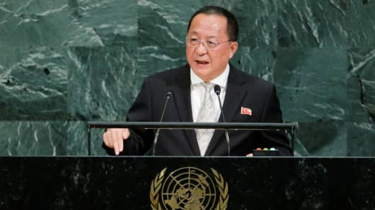 North Korean Foreign Minister Ri Yong-ho addresses the 72nd United Nations General Assembly at U.N. headquarters in New York, U.S., September 23, 2017.