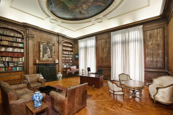 This grand salon now serves as an ambassador's office with bulletproof windows.