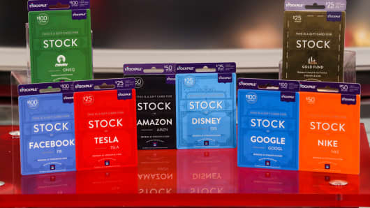 An assortment of Stockpile gift cards.