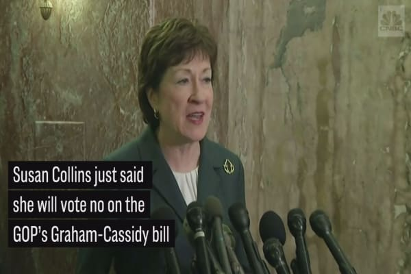 Sen. Susan Collins says she will vote no on Graham-Cassidy bill