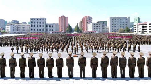 Members of the People's Security Council take part in an anti-U.S. rally, in this September 23, 2017 photo released by North Korea's Korean Central News Agency.