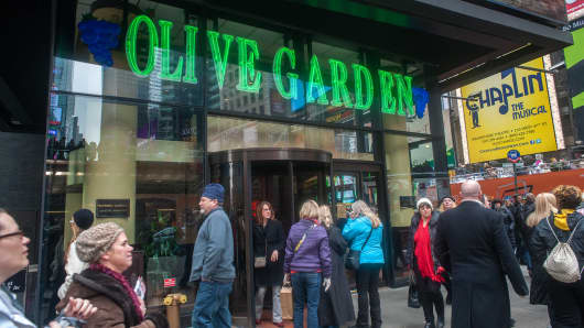 An Olive Garden restaurant in Times Square in New York.