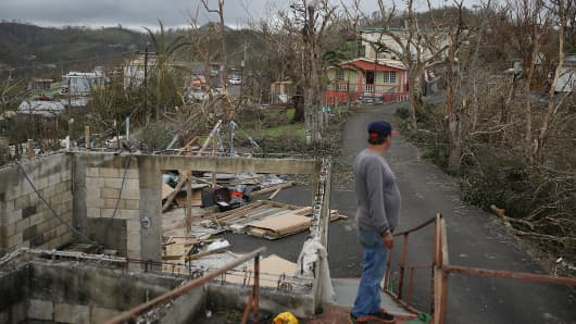 Telesforo Menendez surveys the damage in his neighborhood September 24, 2017 in Hayales de Coamo, Puerto Rico. Puerto Rico experienced widespread damage after Hurricane Maria, a category 4 hurricane, passed through.