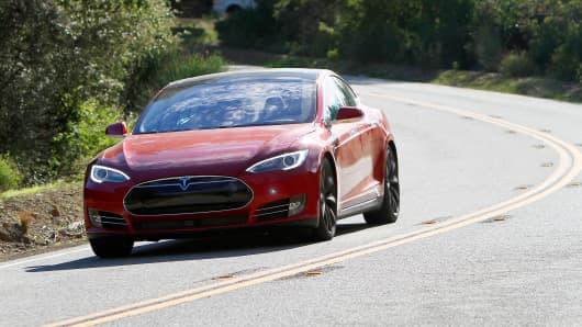 Tesla Model S P85D dual electric motor sedan.