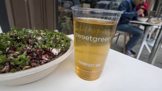 A salad and drink are arranged for a photograph outside a Sweetgreen Inc. restaurant in San Francisco, California.