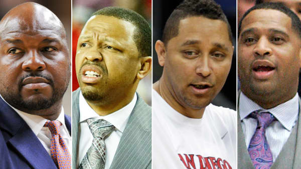"""The FBI arrests NCAA basketball coaches in bribery probe. From left to right: Chuck Person, an associate coach of Auburn University, amont Evans, an associate coach of Oklahoma State University, ony Bland, an associate coach of the University of Southern California and Emanuel """"Book"""" Richardson, an assistant coach of the University of Arizona."""