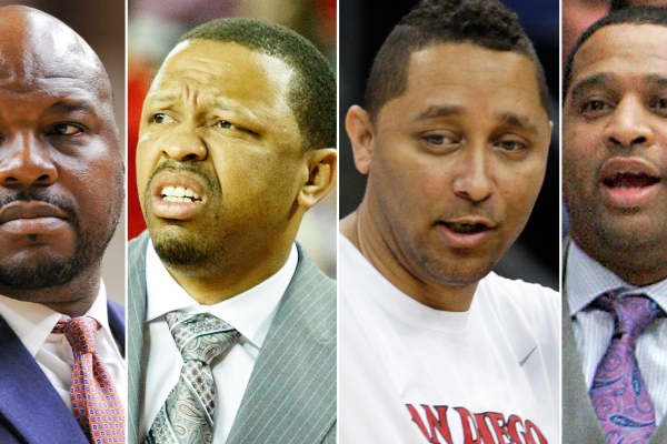 "The FBI arrests NCAA basketball coaches in bribery probe. From left to right: Chuck Person, an associate coach of Auburn University, amont Evans, an associate coach of Oklahoma State University, ony Bland, an associate coach of the University of Southern California and Emanuel ""Book"" Richardson, an assistant coach of the University of Arizona."
