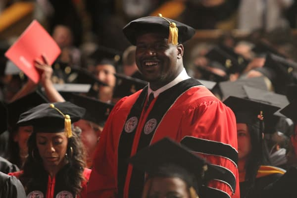 Shaquille O'Neal receives his doctoral degree in education from Barry University.