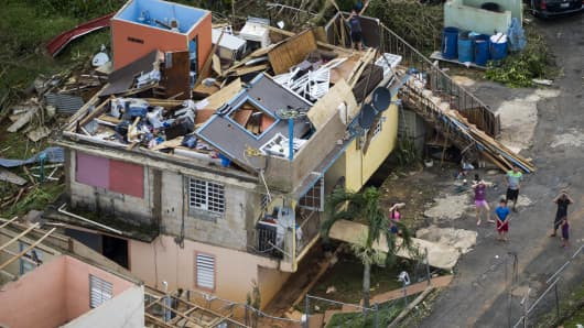 A devastated house in Morovis Puerto Rico. Hurricane Maria passed through Puerto Rico leaving behind a path of destruction across the national territory.