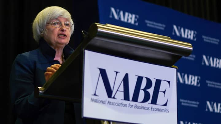Federal Reserve Chair Janet Yellen speaks at an economics conference, Tuesday, Sept. 26, 2017, in Cleveland.
