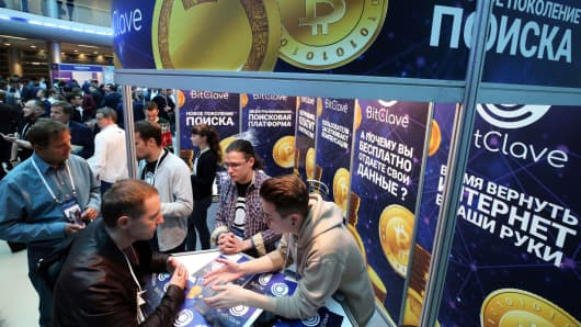 A stand of the BitClave search engine at Blockchain Life 2017, a conference on bitcoin, blockchain, and cryptocurrency, in St. Petersburg, Russia, September 26, 2017.