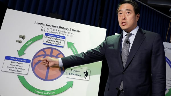 Joon H. Kim, the Acting United States Attorney for the Southern District of New York, speaks during a news conference to announce charges against 10 people, including four college basketball coaches and financial advisers, with bribery and fraud in connection with college recruiting in New York, U.S., September 26, 2017.