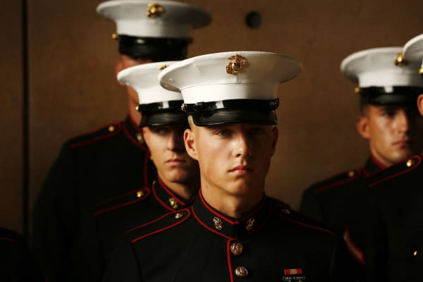 United States Marines stand at attention.