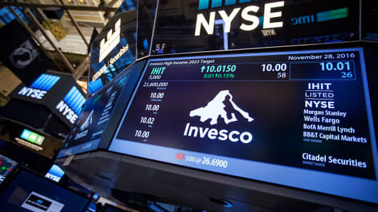 Invesco Ltd. signage is displayed on a monitor on the floor of the New York Stock Exchange (NYSE) in New York, U.S., on Monday, Nov. 28, 2016.