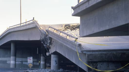 Overpass that collapsed on Highway 10 in the Northridge/Reseda area at the epicenter of the earthquake in 1994.