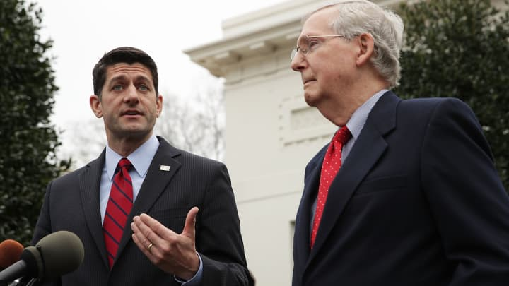 Speaker of the House Rep. Paul Ryan (R-WI) (L) and Senate Majority Leader Sen. Mitch McConnell (R-KY) (R) speak to members of the media in front of the West Wing of the White House February 27, 2017 in Washington, DC.