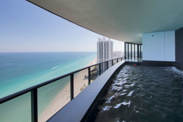 Each unit comes with a pool overlooking Sunny Isles Beach.