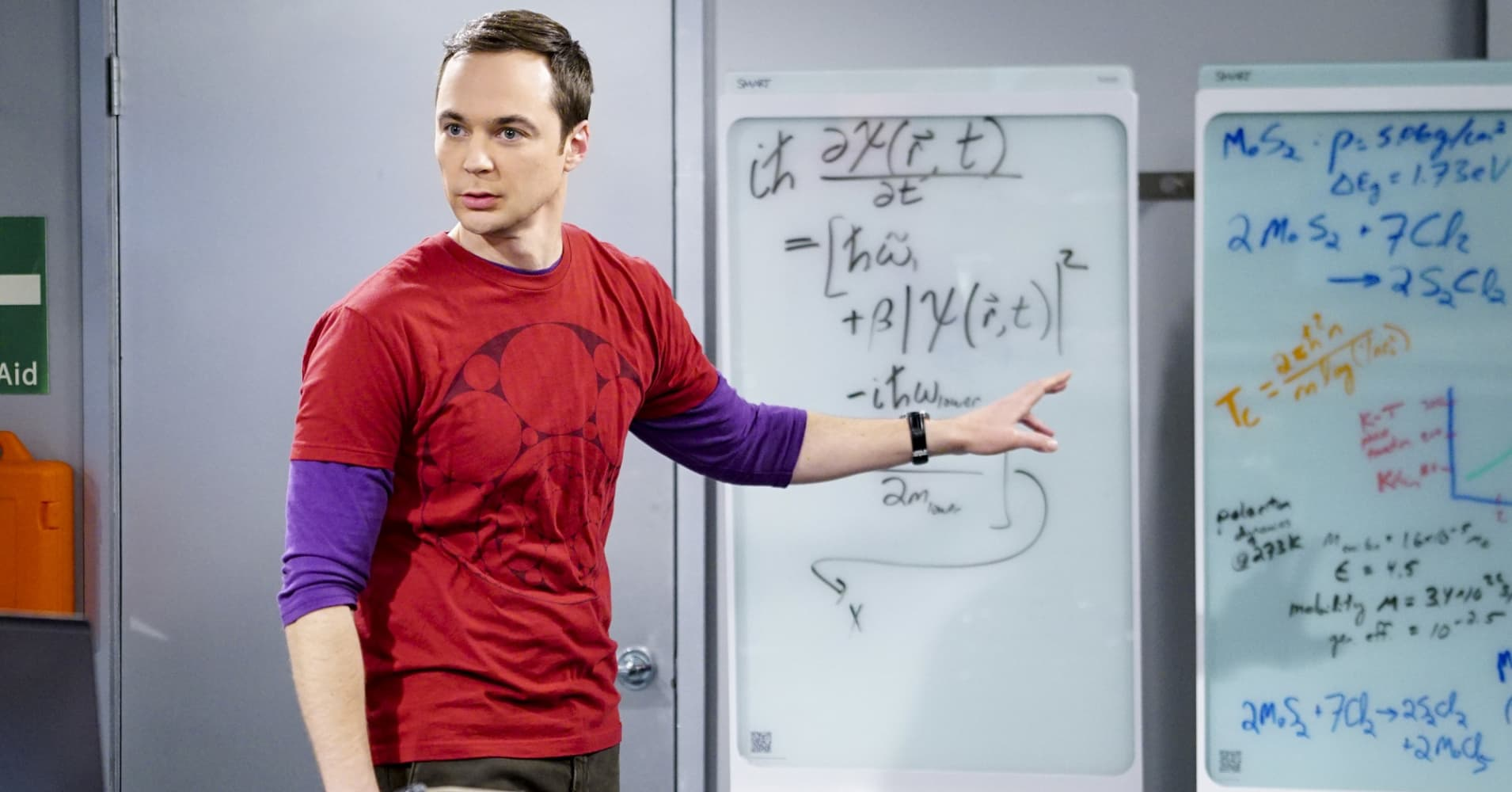 "Jim Parsons as Sheldon Cooper on CBS's ""The Big Bang Theory."""