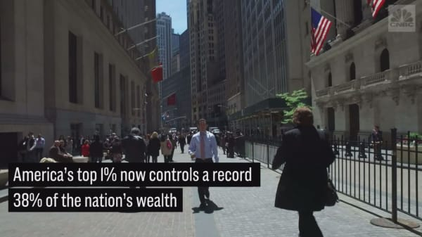 The top 1% of Americans now control a record 38% of the wealth