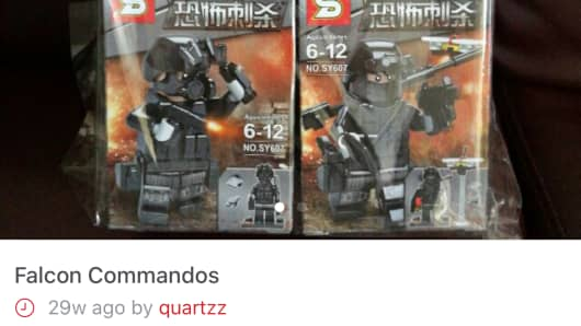 "Fake Lego sets made in China featuring ISIS terrorists. The Chinese words for ""terrorist assassination"" are printed on the packaging."