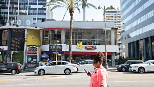 The Carl's Jr. at Normandie and Wilshire in Los Angeles, Aug. 5, 2017.