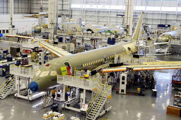 Bombardier's C Series aircrafts are assembled in their plant in Mirabel, Quebec, Canada April 29, 2016.
