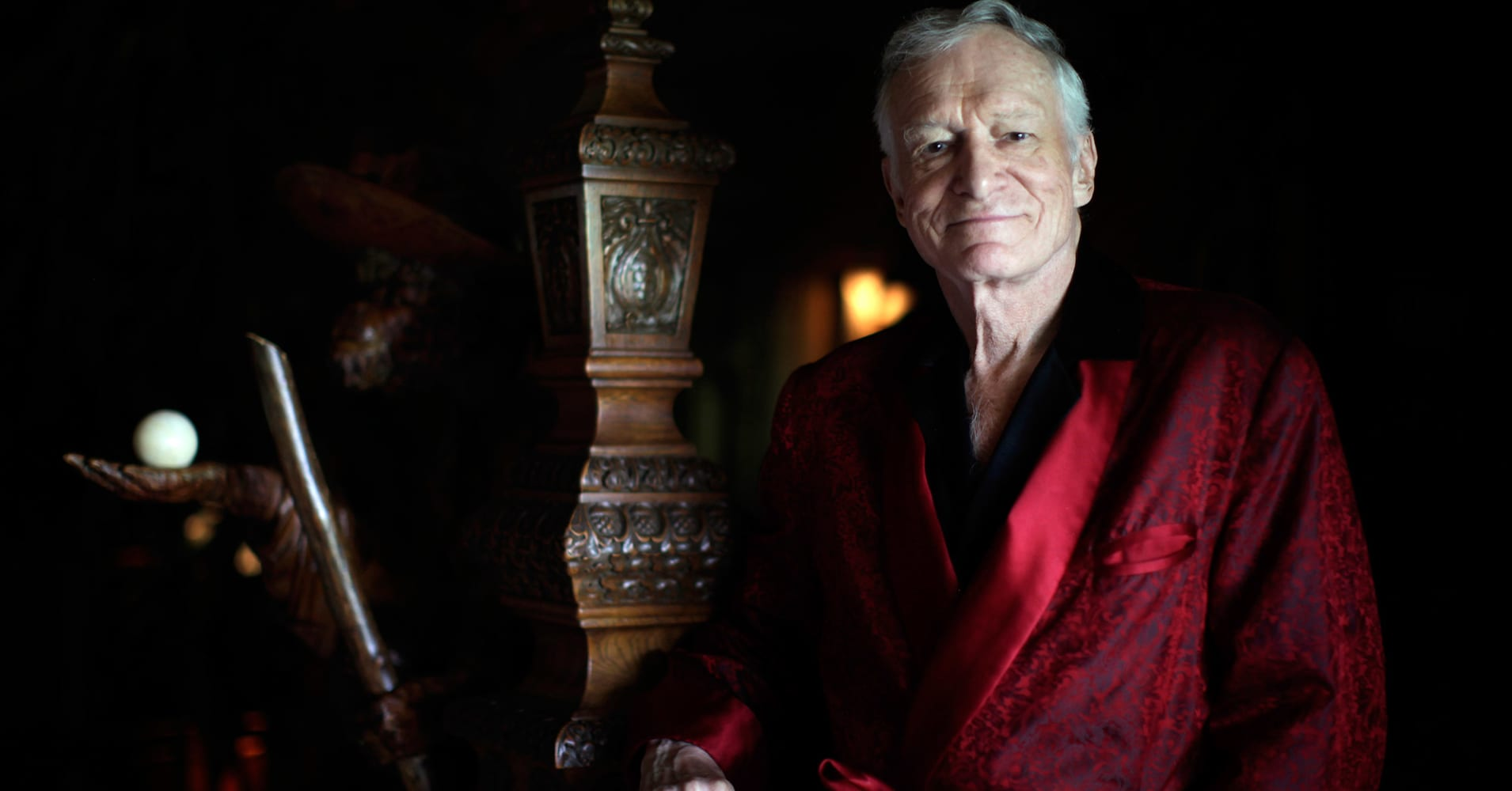 Playboy magazine founder Hugh Hefner poses for a portrait at his Playboy mansion in Los Angeles, California, July 27, 2010.