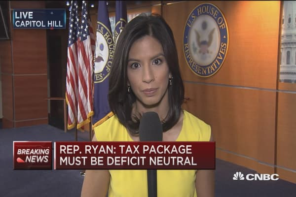 Paul Ryan: Tax package must be deficit neutral