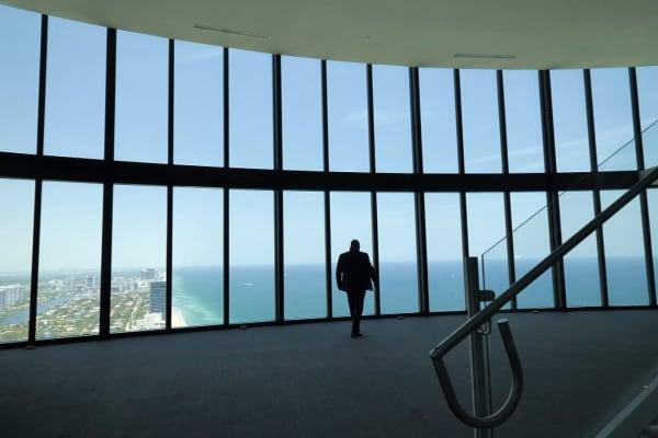 The penthouse boasts killer views of Sunny Isles Beach.