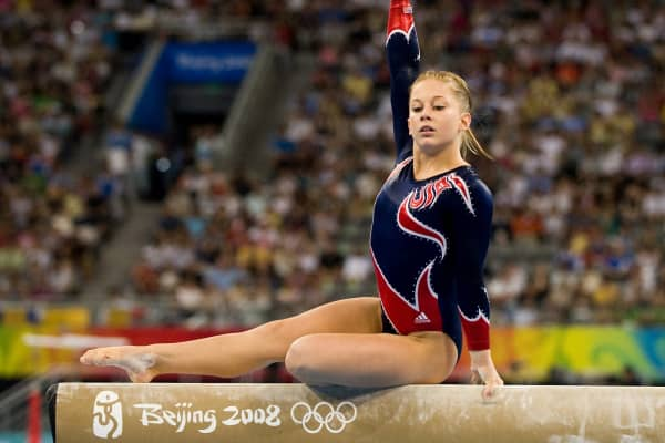 Shawn Johnson of the United States performs her gold-medal winning routine on the balance beam in individual apparatus finals on Tuesday, August 19, 2008, in the Games of the XXIX Olympiad in Beijing, China.
