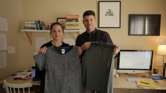 Sadie Beaudet and Jeremy Roberts, the founders of clothing company Tradlands.