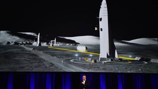 Entrepreneur and founder of SpaceX Elon Musk speaks below a computer generated illustration of his new rocket at the 68th International Astronautical Congress 2017 in Adelaide on September 29, 2017. Musk said his company SpaceX has begun serious work on the BFR Rocket as he plans an Interplanetary Transport System.