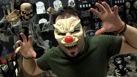 An Employee Of Spirit Halloween Models One Of Thousands Of Costumes On Sale  In Plantation,