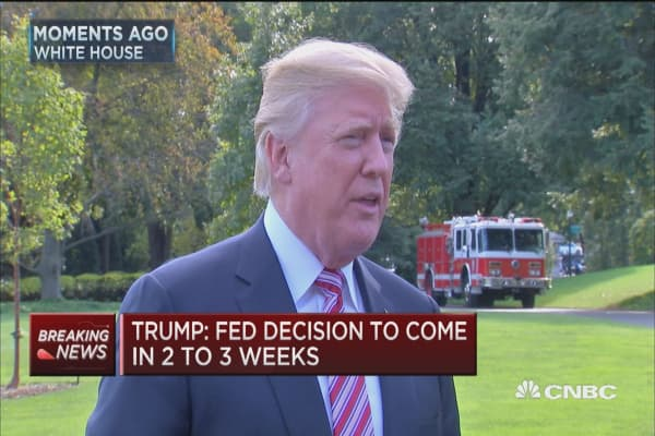 Trump: Fed Chair decision to come in 2 to 3 weeks