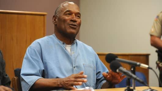 O.J. Simpson attends a parole hearing at Lovelock Correctional Center July 20, 2017 in Lovelock, Nevada.