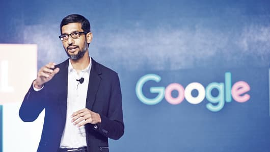 Google CEO Sundar Pichai speaks during Digital Unlocked Google event at Taj palace on January 4, 2017 in New Delhi, India.