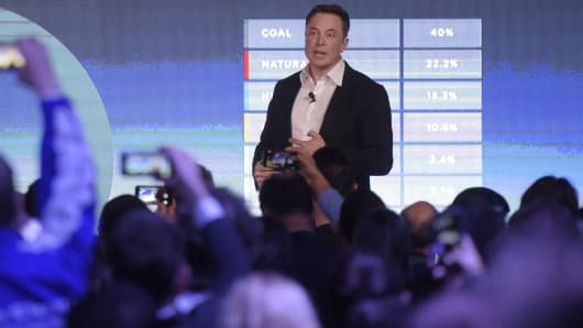 Elon Musk speaks at Hornsdale wind farms in Australia for an event for Tesla
