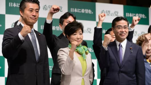 Yuriko Koike, governor of Tokyo and head of the Party of Hope, during a news conference in Tokyo, Japan, on Wednesday, Sept. 27, 2017.