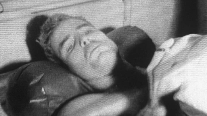 American pilot John McCain recovers in a Hanoi Hospital from injuries he sustained when he was shot down over Hanoi.