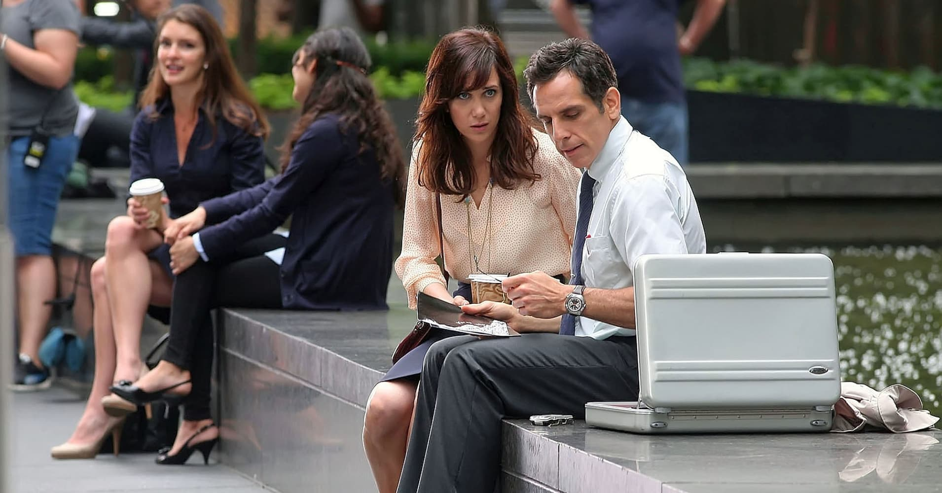 Ben Stiller and Kristen Wiig on the set of 'The Secret Life Of Walter Mitty'