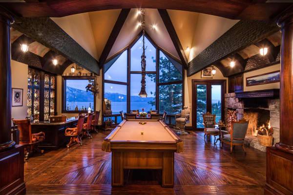 The billiard room is like a cozy English tavern.