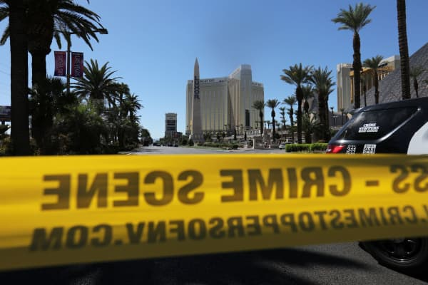 Police crime scene tape marks a perimeter outside the Luxor Las Vegas hotel and the Mandalay Bay Resort and Casino, following a mass shooting at the Route 91 Festival in Las Vegas, Nevada, U.S., October 2, 2017.